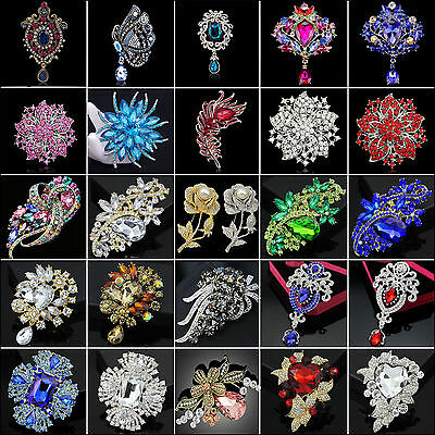 (Vintage Gold Alloy Rhinestone Crystal Flower Wedding Bridal Bouquet Brooch Pin )