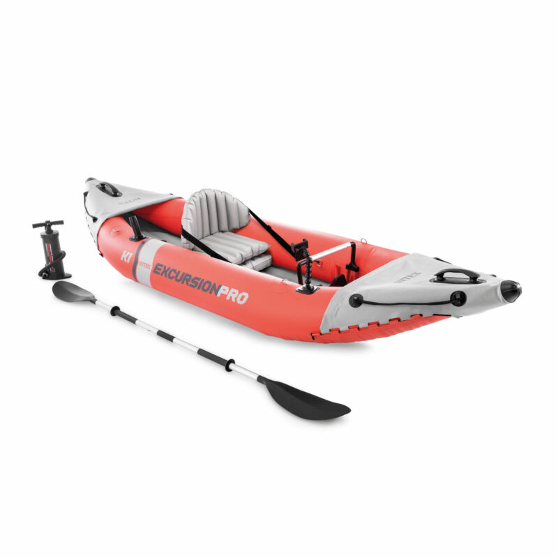 Intex Excursion Pro Inflatable Fishing Vinyl Kayak with Oar and Pump (Open Box)