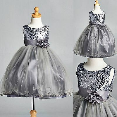 Charcoal Sequence Dress Fishing Line Flower Girl Pageant Holiday Wedding #18 (Charcoal Flower Girl Dresses)