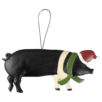 Black And White Santa Hat (Pig With Santa Hat Black and White 5 x 4 Resin Stone Christmas Figurine)