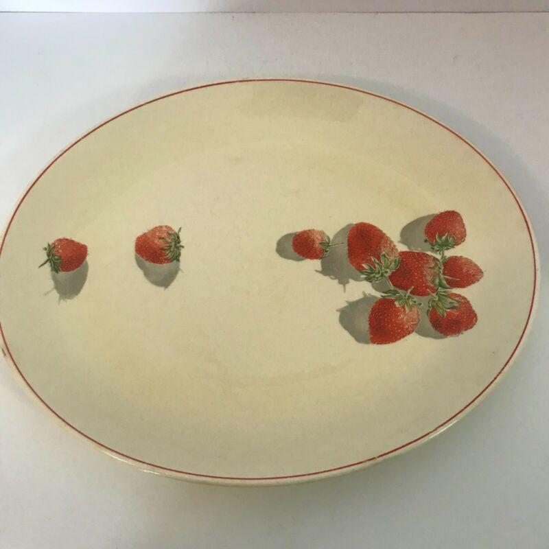 Vintage Platter Shortcake 9x11.5  Cavitt Shaw WS George Strawberries Red Rim