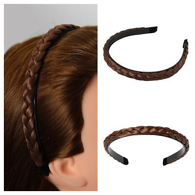 Luxus Haarreif Kunsthaar Geflochten Haarschmuck Haarspange Zopf Braun