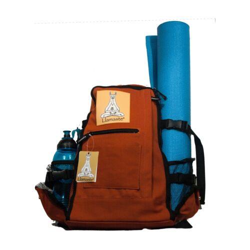 Canvas Yoga and Pilates Zipper Knapsack with Mat Carrier - Orange