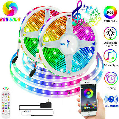 32.8 ft RGB 5050 Bluetooth Led Strip Lights SMD 24 Key Remote 12V DC Power Kit