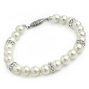 Cream Colour Pearl Beads & Glass Crystal Bracelet Wedding Party Bridesmaid