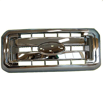 Grille Assembly For Ford F250 F350 F450 F550 All-Chrome New 1-Piece Design