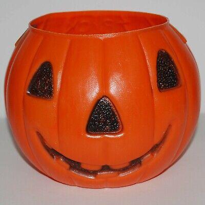 Halloween Jack O Lantern Candy Bucket VTG Blow Mold AJ Renzi 2-Sided Made in USA