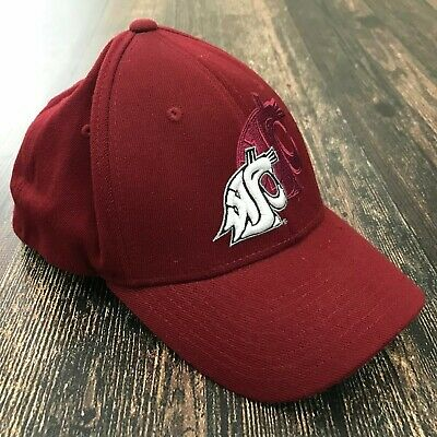 bc3c7d053d904 WSU Cougars Hat Cap M L Zephyr Fit Embroidered Shadow Logo Washington State  Red