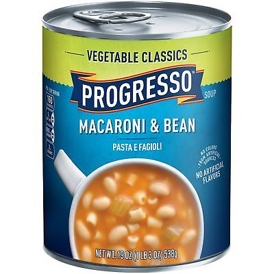 Progresso Vegetable Classics Soup Macaroni and Bean 19-Ounce Cans (Pack of 6)