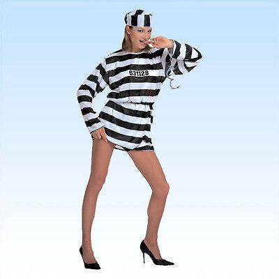 Kostüm Knacki Lady Gr 38/40 Gefangene Fasching Strafgefangene Häftling - Lady Sträfling Kostüm