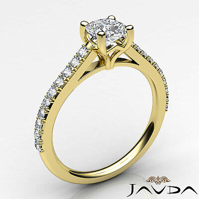 Cushion Shape French V Pave Diamond Engagement Ring GIA Certified F VVS2 1.01Ct 8