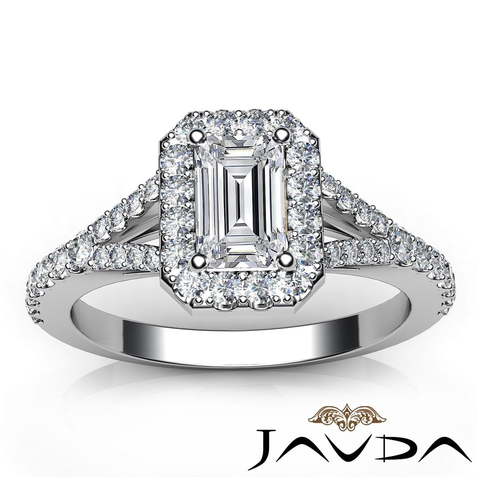 1.23ctw Halo U Pave Stone Emerald Diamond Engagement Ring GIA H-SI1 White Gold 6