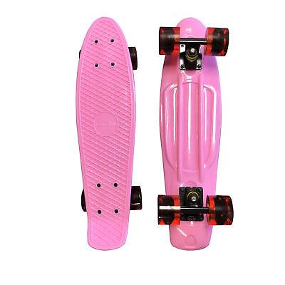 """Pink Penny Board Light Up Wheel Skateboard w FREE T Tool Combo 22"""" Cruiser Board"""