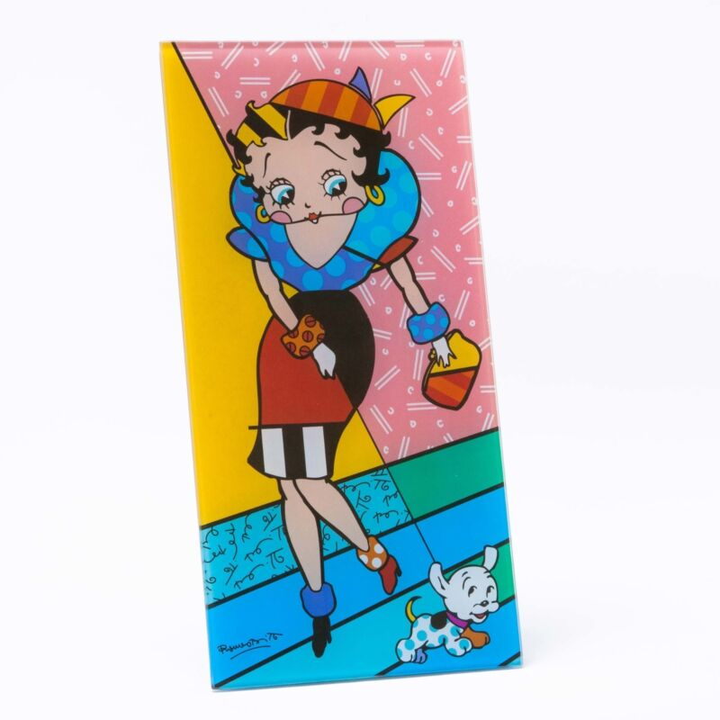 ROMERO BRITTO BETTY BOOP WITH PUDGY PLAQUE   ** NEW **GIFT  BOX **