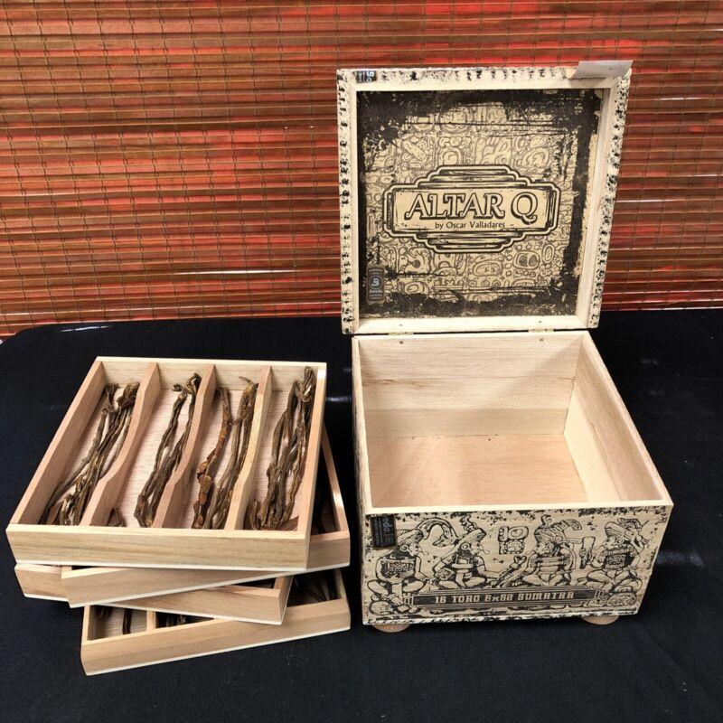 Altar Q Oscar Valladares Empty Wooden Cigar Box 7.75x7.5x5.5