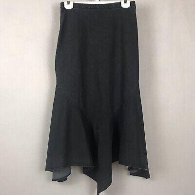 (LARRY LEVINE Maxi Skirt Black Cotton Blend Aline Flare Bias Cut Hanky Hem Size 4)