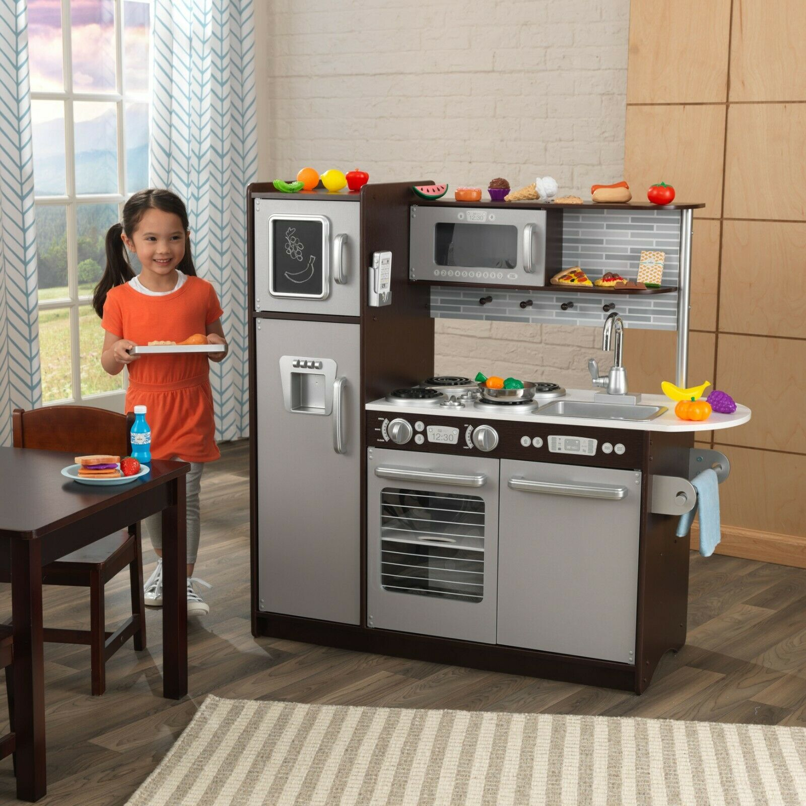 Pretend Kitchen Play Set 30 Piece Oven Refrigerator Kids Toy