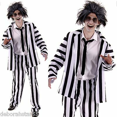Mens Ghost Costume Adult Crazy Funny Halloween Black Striped Suit  M/L 44