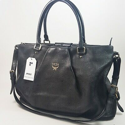 Auth MCM Monogrammed Leather Shopper Bag Black D1212 Guaranteed Shoulder MA465