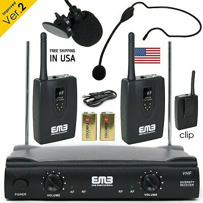 Professional Wireless Microphone System Headset / Lavalier 2 x Mic w/ Receiver