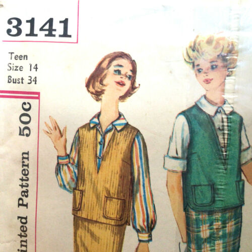 Teen Blouse Slim Skirt & Blouse Top Size 14 Vtg Sewing Pattern Simplicity 3141