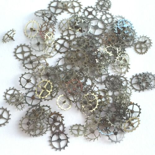 25 Silver Escape Wheels Lot Watch Parts Steampunk Gears Vintage Nail Altered Art
