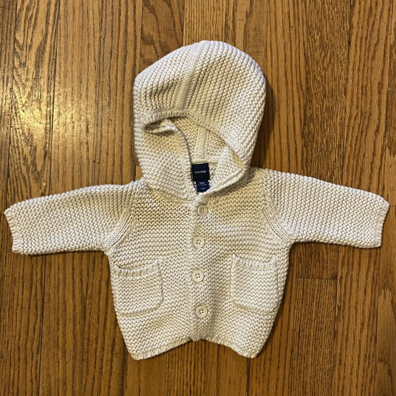 Baby Gap Newborn Infant Hooded Sweater 0-3 Mos Beige
