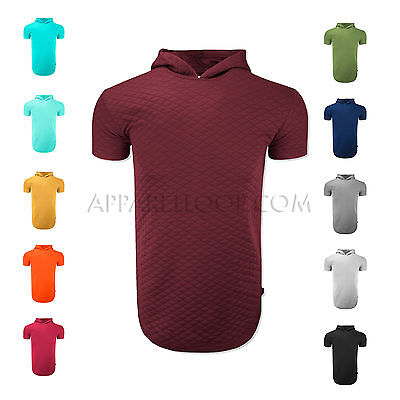 Men's quilted YEEZY STYLE  with Crew Neck longline t-shirt  Hooded Side