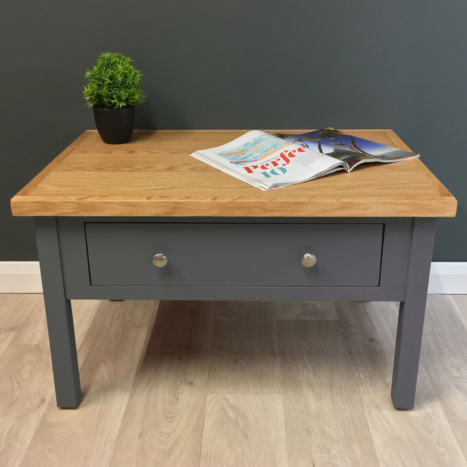 Oak Painted Coffee Table Dark Grey With