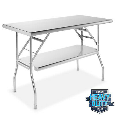 Stainless Steel Folding Commercial Prep Table With Undershelf - 48 X 24 In.