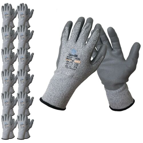 GlovBE 3/ 6 /12 Pairs Cut Resistant A3 HDPE Work Gloves Polyurethane (PU) Coated