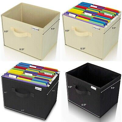 Collapsible Folder Organizer File Storage Box White OR Black Holds Hanging -