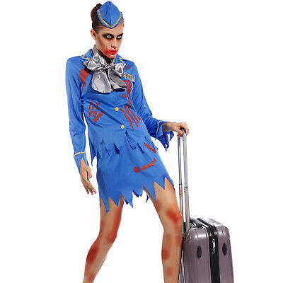 Ladies Womens Zombie Air Hostess Cabin Crew  Halloween Costume Fancy Dress - Zombie Womens Halloween Costumes