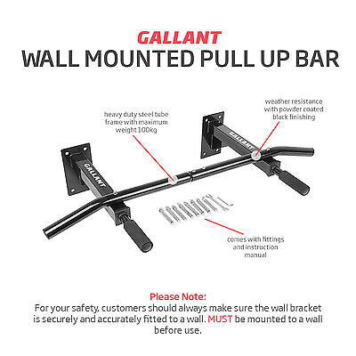 Gallant Wall Mounted Pull Up Bar Chin Chinning Bracket Iron Home Gym Station Dip