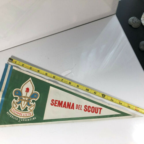 """Boy Scout Pennant From Argentina 1960 Jamboree Semana Del Scout 17"""" Nylon"""