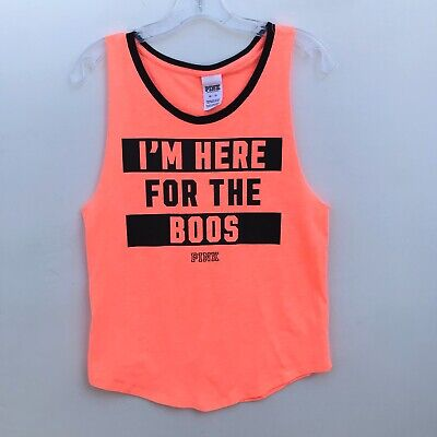 PINK VS I'm Here For The Boos Neon Orange Tank Top Halloween - Extra Small XS - Boo Halloween Special