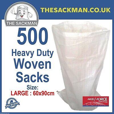 500 Woven Polypropylene Rubble Sacks Stong LARGE SIZE 60x 90cm PP Bags Sandbags