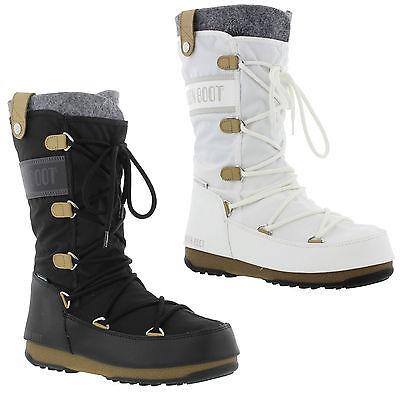 Moon Boots Monaco Felt Womens Black White Waterproof Ski Snow Winter Size 4 7 5