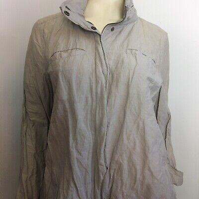 Eileen Fisher Jacket Large Packable Hood Zip Up Button Snap Pockets Lightweight