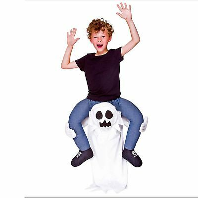 Kids GHOST Carry Me Halloween Scary Spooky Fancy Dress Costume Mascot Child Boo (Scary Mascot Costumes)