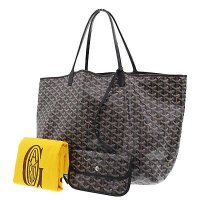GOYARD Shoulder Tote Bag Black PVC Canvas Leather France Vintage Auth #KK841 S