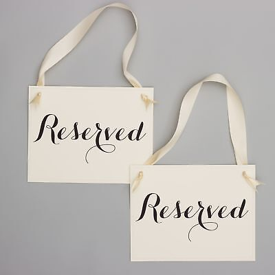 2 Reserved Chair Signs Saved Seat Banners Wedding Ceremony Aisle Conference Row](Wedding Ceremony Signs)