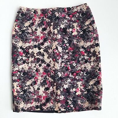 Talbots Straight Pencil Skirt Womens 2P Petite Multicolor Floral Fully Lined