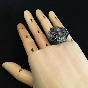 Sterling Silver Matilde Poulat Ring (w/ Amethyst And Turquoise Stones)