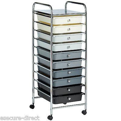 VonHaus Monochrome Ombre 10 Drawer Make Up Home Office Salon Storage Trolley