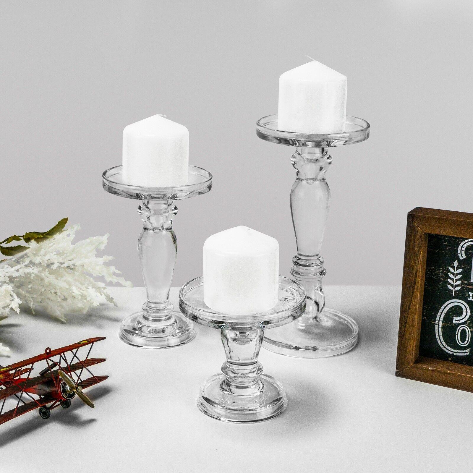 Glass Candle Holder Set Of 3 Pillar Holders Candlesticks Ste