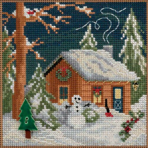 Christmas Cabin Cross Stitch Kit Mill Hill 2018 Buttons Bead