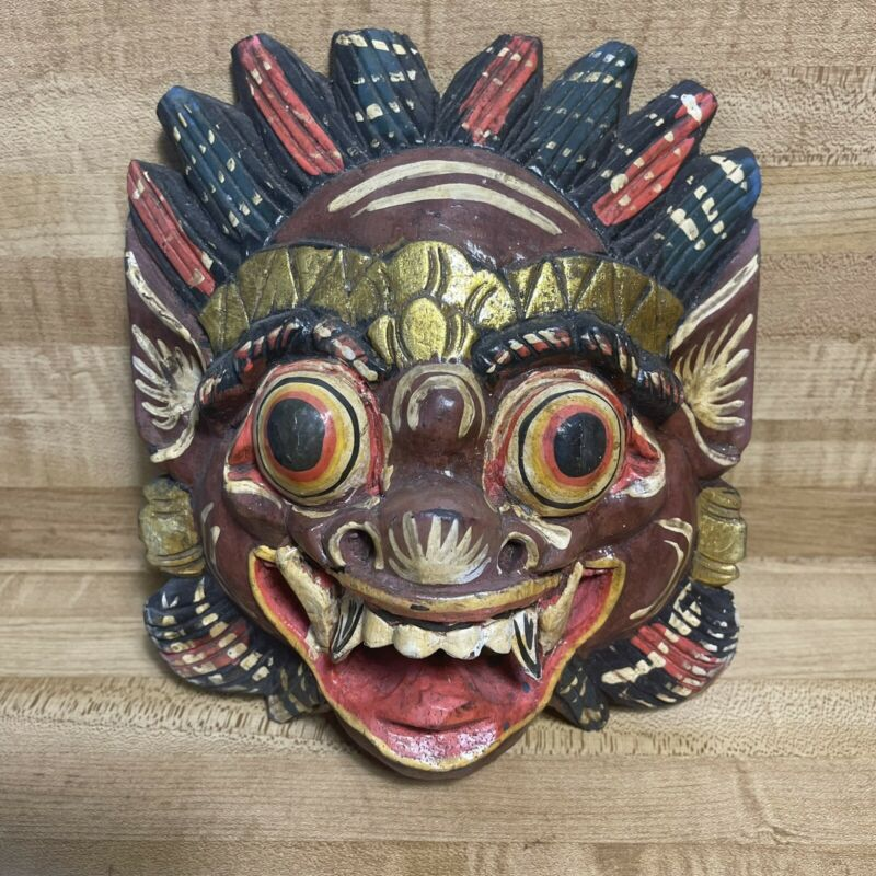 Vintage Barong Hand-Carved Painted Wooden Balinese Wall Mask Indonesia
