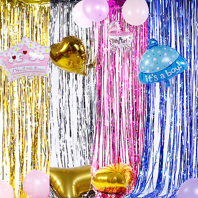 SHIMMER FOIL DOOR CURTAIN BIRTHDAY PARTY DECORATION TINSEL GOLD SILVER PINK BlUE