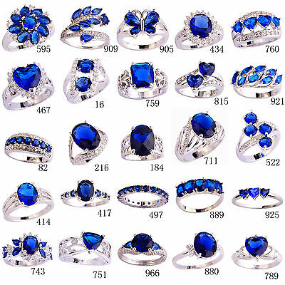 Ring - Blue Sapphire White Topaz Gemstone AAA Nice Silver Ring Size 6 7 8 9 10 11 12 13